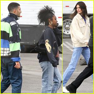 Kendall Jenner Joins Friends Fai Khadra & Justine Skye at Sunday Service