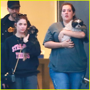 Ashley Benson & Gal Pal Pick Up Her Pups From The Vet