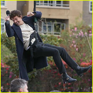 Harry Styles Soars Over LA Traffic on a Zip Line - See Lots of Photos!