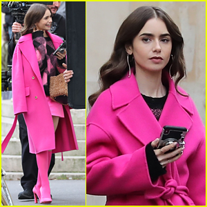 Lily Collins Brightens Up The Streets of Paris in Pink!
