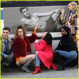 Lucy Hale & 'Katy Keene' Cast Get Flirty With Zane Holtz Underwear Bus Ad