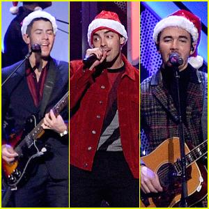 Jonas Brothers Wear Santa Hats For Their Jingle Ball 2019 Performance in NYC
