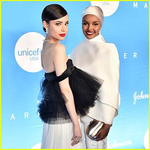 Sofia Carson & Model Halima Aden Share Sweet Moment at UNICEF Event