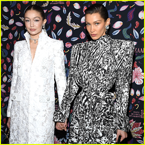 Bella Hadid Meets Up With Sister Gigi For Harper's Bazaar Event During Paris Fashion Week
