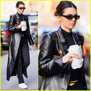 Kendall Jenner Wears Long Leather Coat for Lunch in NYC