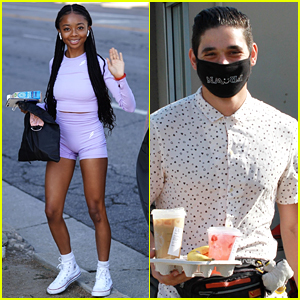 Skai Jackson Wears Purple For 'DWTS' Rehearsal With Rumored Partner Alan Bersten