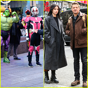 Hailee Steinfeld & Jeremy Renner Run Into Other Marvel Characters While Filming in Times Square