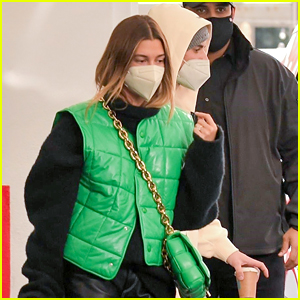 Justin & Hailey Bieber Step Out For Meeting in Matching Green Outfits