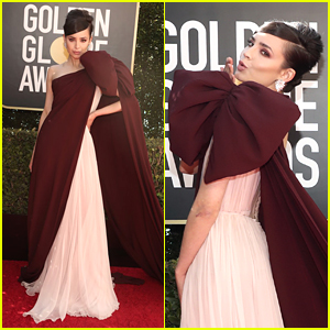 Sofia Carson Wears a Giant Bow To Host Golden Globes 2021 Red Carpet
