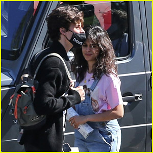 Camila Cabello Wears 'Friends' Shirt While Arriving on Set with Shawn Mendes