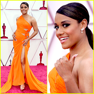 West Side Story's Ariana DeBose Gives a Thumbs Up on Oscars 2021 Red Carpet