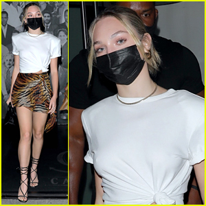 Maddie Ziegler Wears a Tiger Print Skirt For Night Out