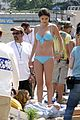 Selena-bikini selena gomez blue bikini beach 12