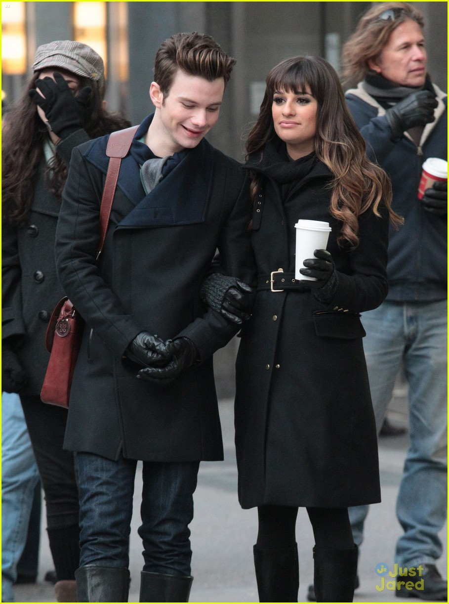 lea michele chris colfer dean geyer glee nyc 05