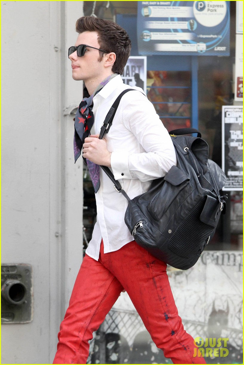 lea michele chris colfer glee set breaks LA 28