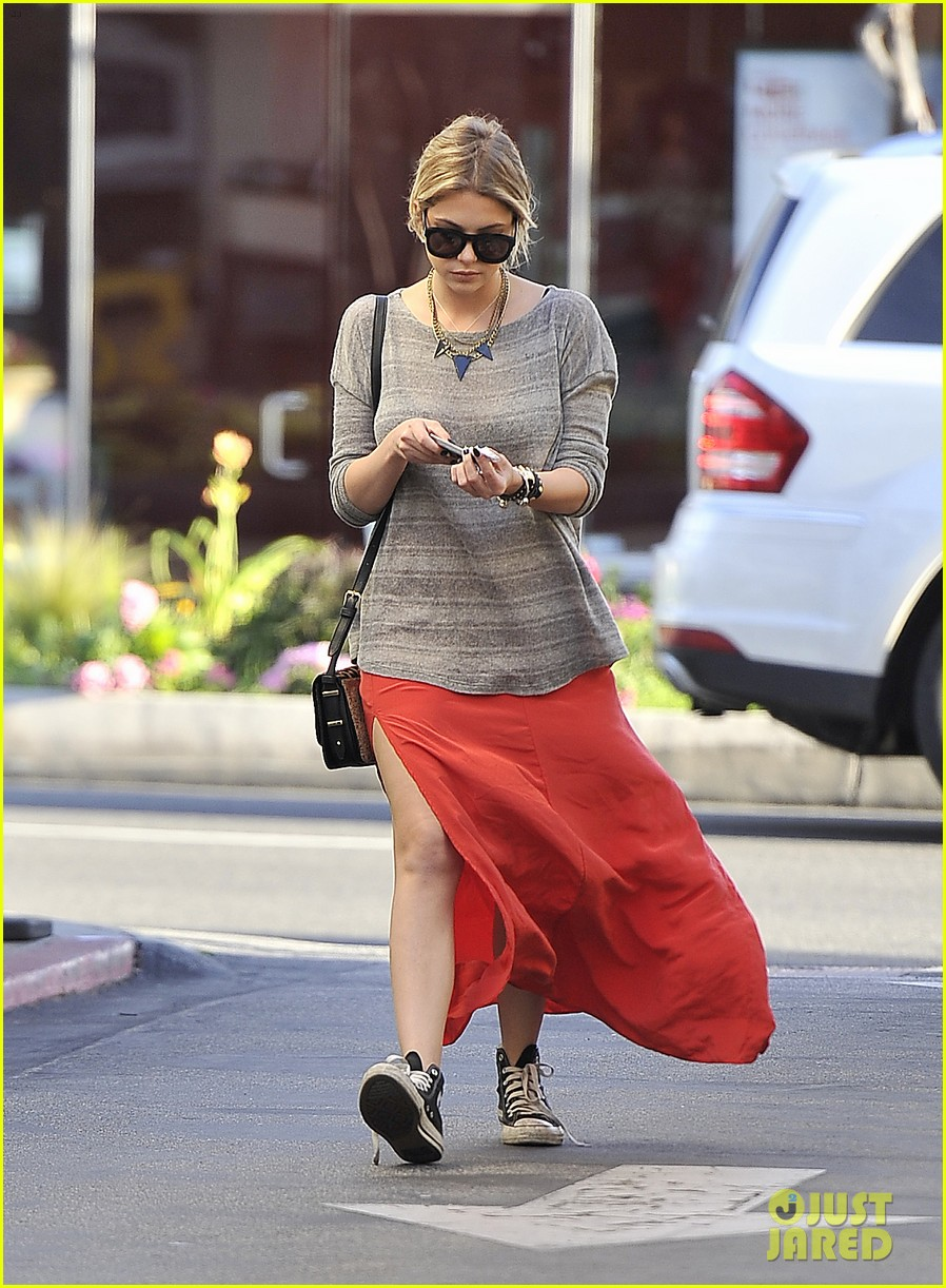 ashley benson sunday skirt sneakers 04