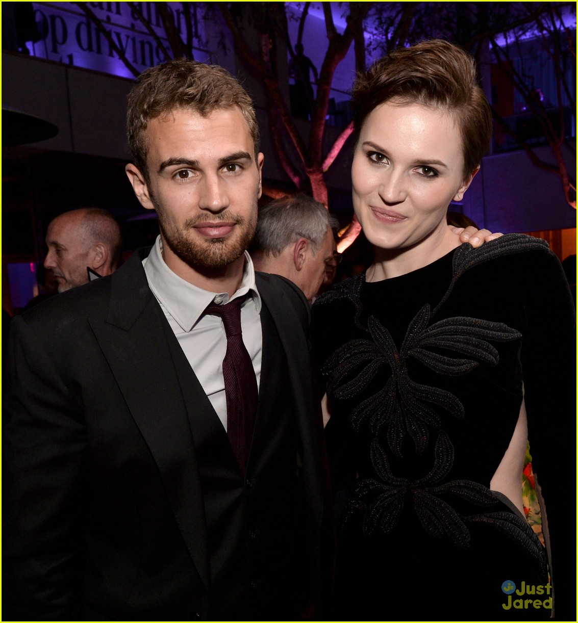 Theo James and Veronica Roth at the Divergent premiere after party in LA