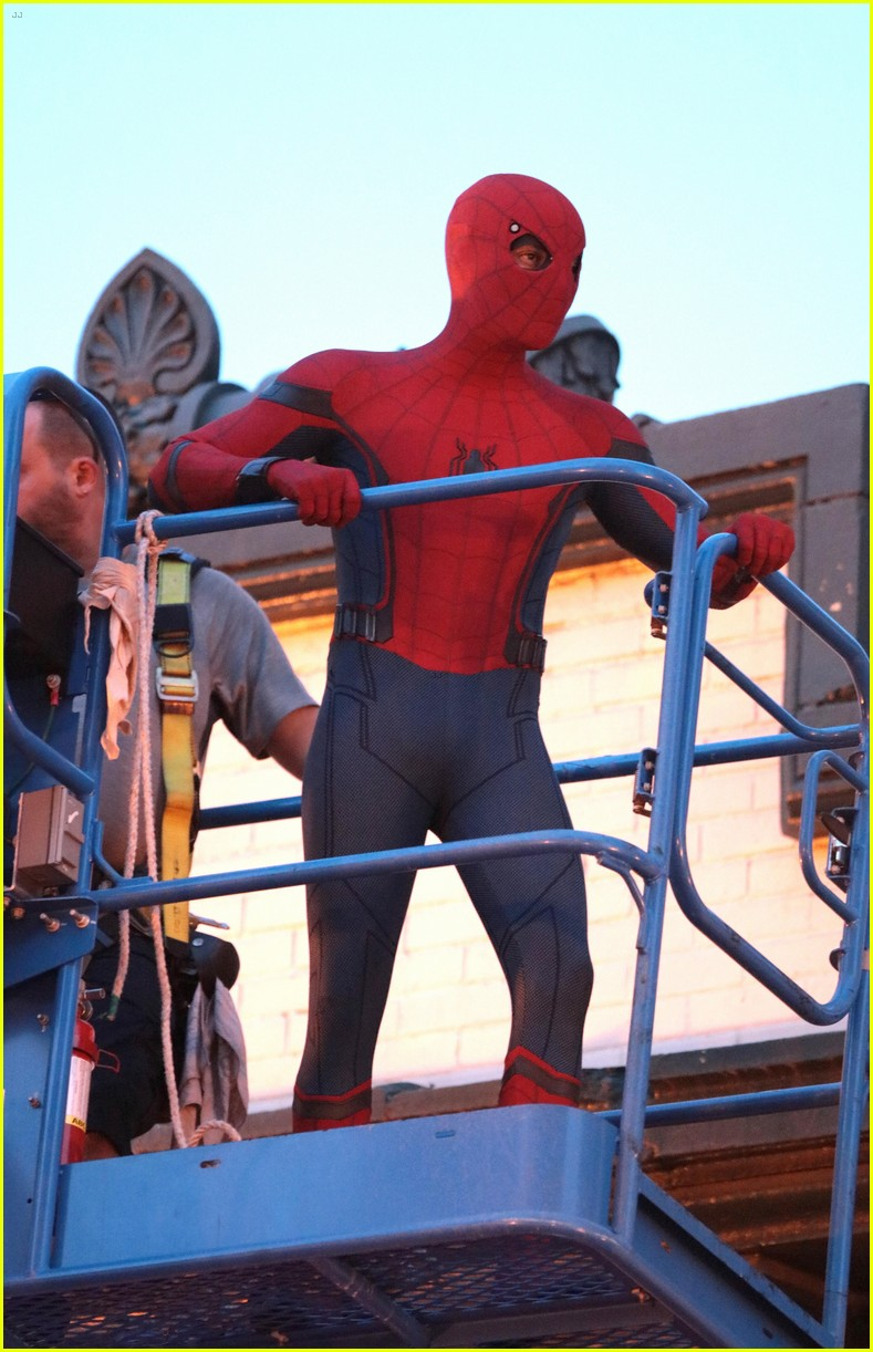 tom holland suits up on the set of spider man homecoming 08