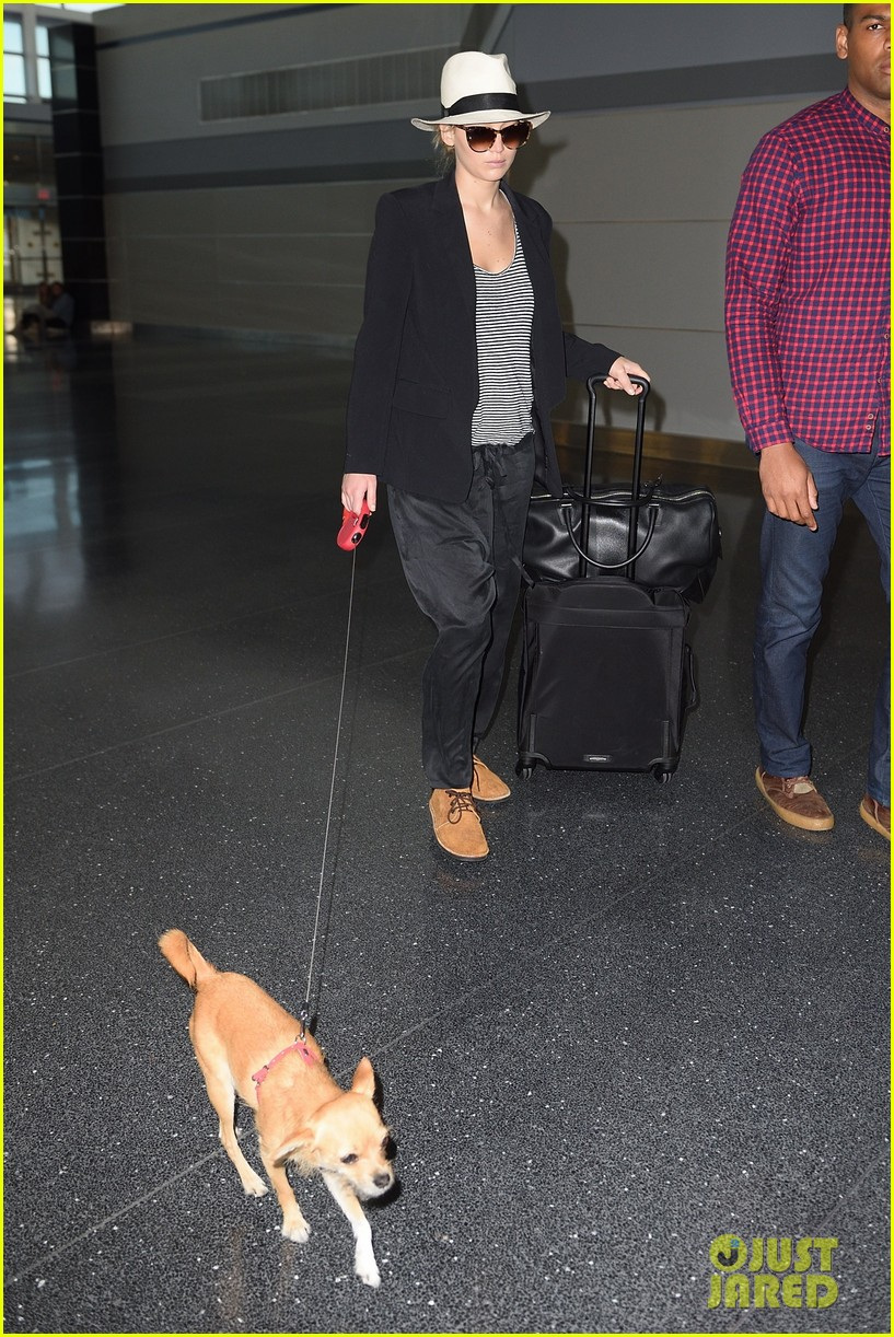 jennifer lawrence dog nyc airport 03