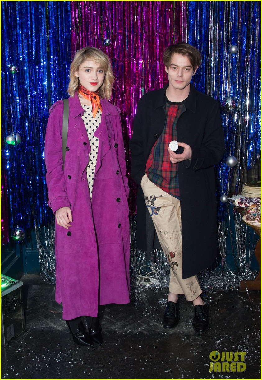 natalia dyer charlie heaton couple up for cara delevingne holiday party 03
